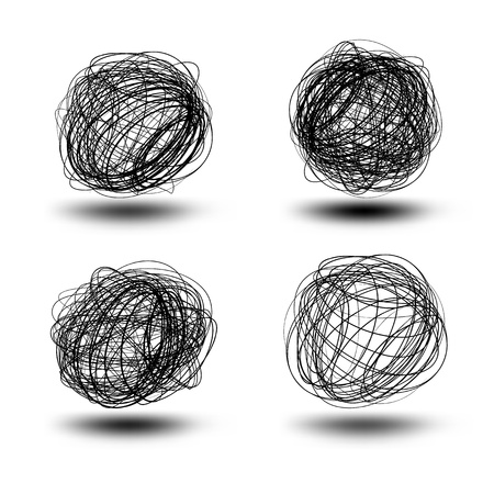 Black vector scribble balls   EPS8 No Transparency