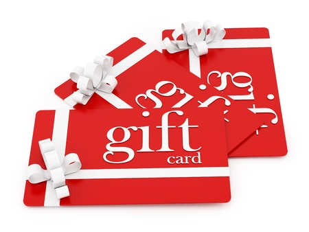 render of 3 gift cards, isolated on white