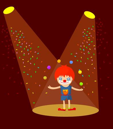 Cartoon clown juggling in the spotlight