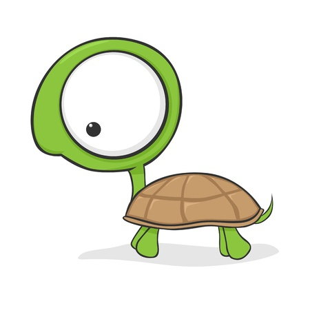 Cute cartoon turtle with huge eyes