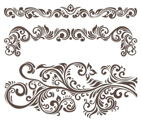 Hand-drawn curly floral elements and letterhead.