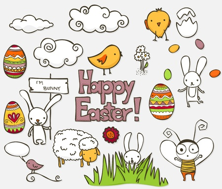 Collection of colorful Easter related doodle.