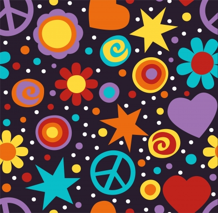 Colorful hippie seamless pattern with peace signs, hearts and flowers