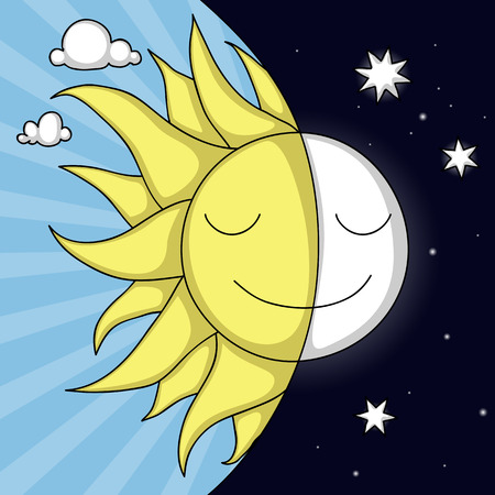 Cute day and night illustration with smiling Sun and Moon