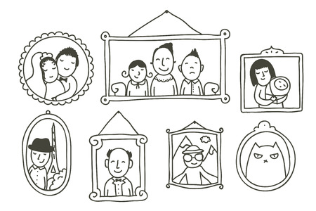 Illustration pour Cartoon of framed family photos on a wall - image libre de droit