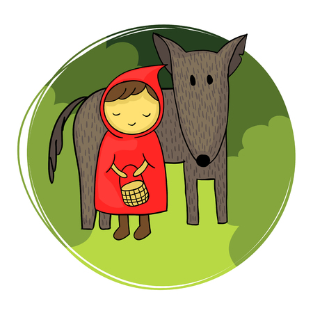 Illustration pour Cute and naive illustration of Little Red Riding Hood and the big bad wolf. - image libre de droit