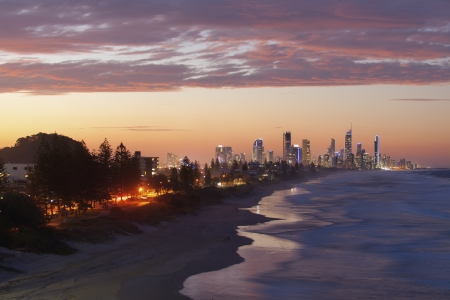 Surfers Paradise and Broadbeach at sunset