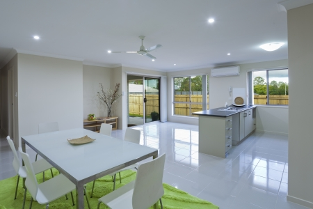New kitchen and dining area in suburban Australian house