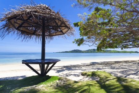 Tropical beach with white sand on Fiji island