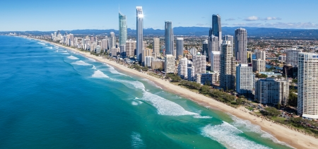 Sunny view of Gold Coast, Queensland, Australia
