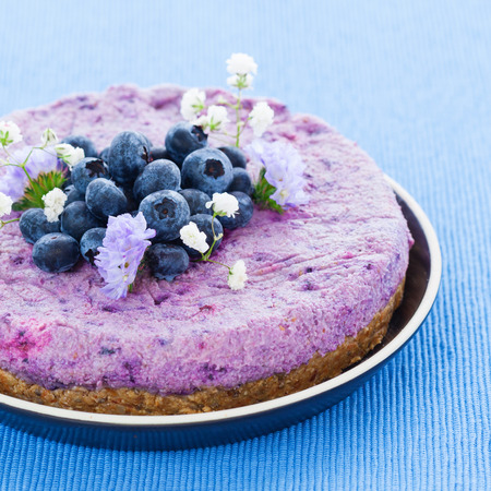 Vegan raw blueberry cake with brazil nuts and almonds