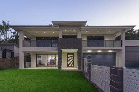 Photo for Modern home exterior at dusk - Royalty Free Image