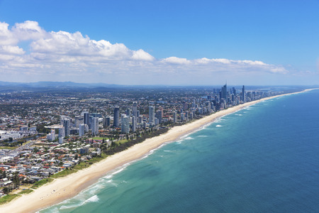 Sunny aerial view of the Gold Coast looking north, Queensland, Australia