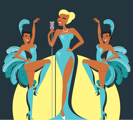 Cabaret singer on a stage with sexy showgirls
