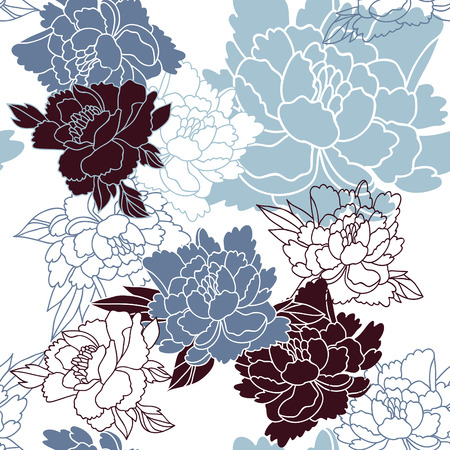 Japanese style seamless floral pattern with peonies