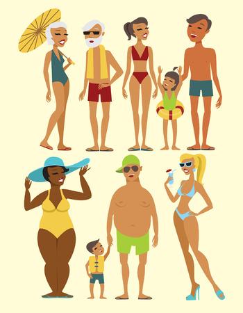 Illustration pour Set of beach people characters flat vector illustration - image libre de droit