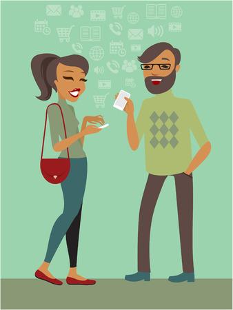 Illustration pour Couple using smartphones together flat illustration - image libre de droit