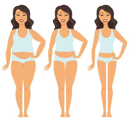 Ilustración de Female weight loss transformation from fat to slim - Imagen libre de derechos