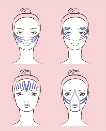 Kinesiology therapeutic beauty taping technique schemes outline vector portraits