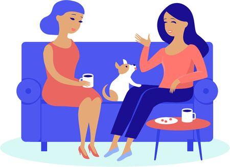 Illustration pour Young women friends having cosy conversation drinking coffee or tea at home - image libre de droit