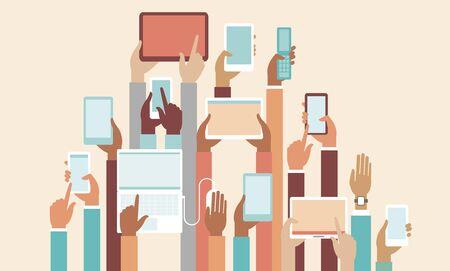Illustration pour Human hands holding various smart devices copyspace flat vector illustration - image libre de droit