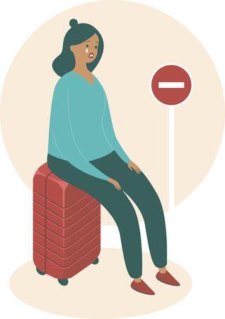 Illustration pour Cancelled flights because of COVID-19 pandemic concept. Upset woman sitting on her suitcase. - image libre de droit