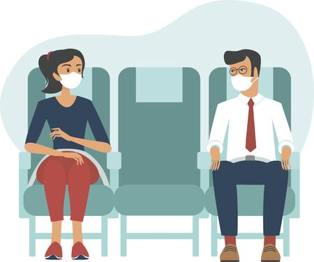 Illustration pour Passengers wearing protective medical masks travelby airplane.New seating regulations on flights.Travel during coronavirus COVID-19 disease outbreak. vector illustration - image libre de droit