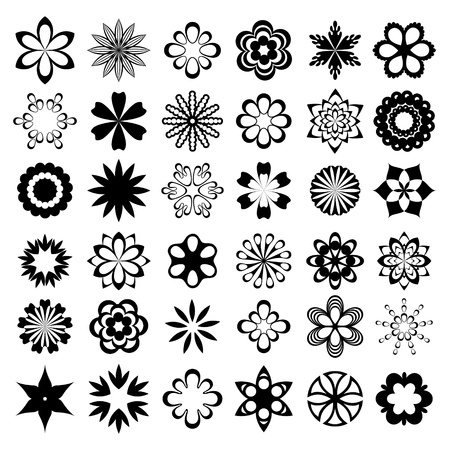 Set of graphical flower elements