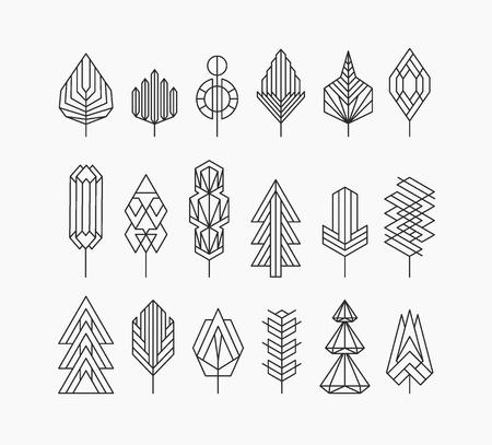 Ilustración de Graphical tree set, hipster linear style - Imagen libre de derechos