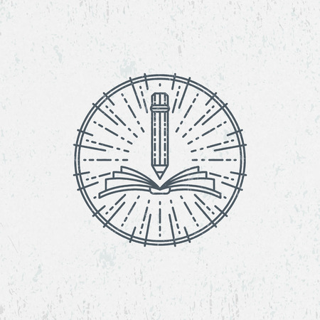 Illustration pour Lineart symbol for knowledge, education, school, art. Graphical logo, label. - image libre de droit