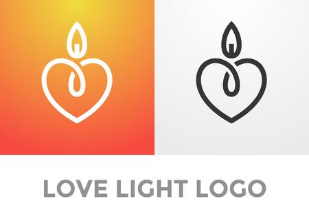 Photo pour Candle light romantic logo, symbol of kind and tender heart, love and charity emblem - image libre de droit