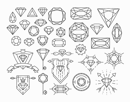 Set of isolated gem stones and thin line design elements, emblems with diamonds.
