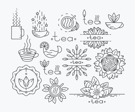 Tea mono line elements for menu, package, design. Vector contour flat, emblems. Herbal and floral decorations.