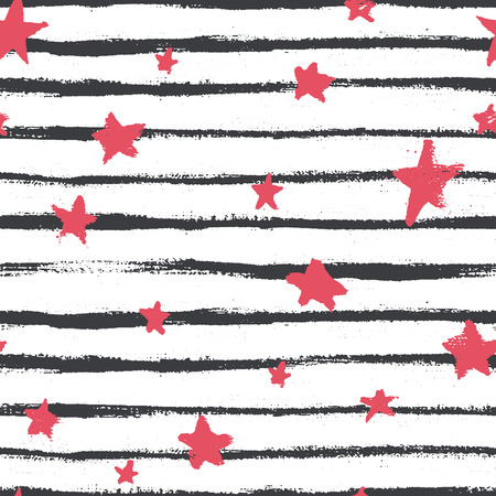 Illustration for Vector seamless pattern with hand drawn stars and stripes. Abstract geometrical background. - Royalty Free Image