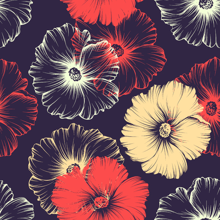 Illustration pour Vector seamless red and violet seamless pattern with big monochromatic mallow flowers. No gradients and clipping mask. Modern floral illustration, print, fabric, textile. - image libre de droit