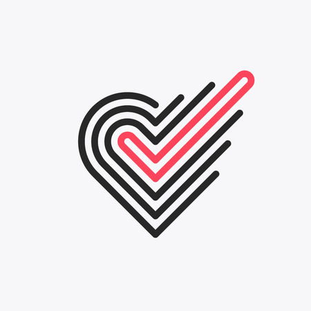 Monoline romantic choice symbol of heart with checkmark, line graphical love emblem.