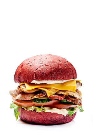 Photo for American burgers from black, red bread. With meat patty, cheddar cheese, lettuce, tomato and sous, burgers on a white background. Vegan burger with avocado. Isolates the image for the menu. - Royalty Free Image