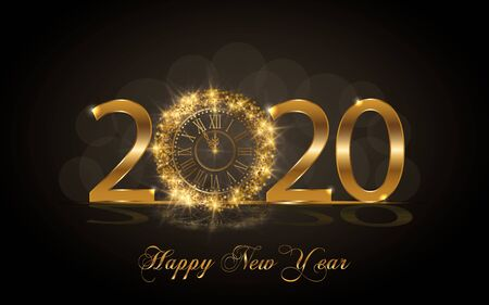 Illustration for Happy New Year 2020. Background with golden sparkling texture. Gold Numbers 20, 2, 0, 02 with golden clock.. Vector Illustration for holiday greeting card, invitation, calendar poster banner - Royalty Free Image