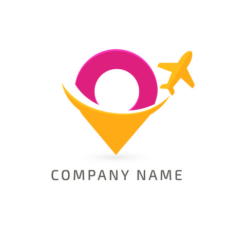 Illustration design airplane with map marker flat icon.