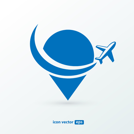 Illustration design airplane with map marker flat icon in blue