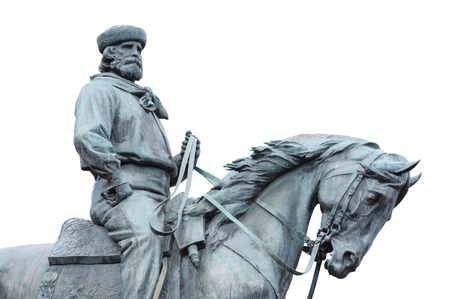 Giuseppe Garibaldi, the Hero of Two Worlds, equestrian statue on withe background