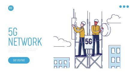 Illustration pour 5G Network Technology Concept For Work And Communication. Website Landing Page. - image libre de droit