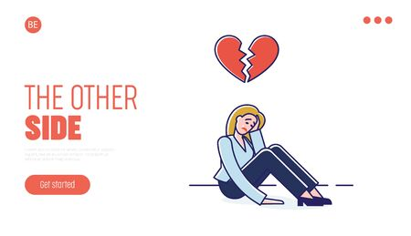 Illustration pour Concept Of Human Behavior and Negative Emotions. Website Landing Page. Woman Cry, Feel Broken, Because Of Conflict In Relationships. Web Page Cartoon Linear Outline Flat Style. Vector Illustration - image libre de droit