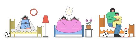Illustration pour Concept Of Kids Bad Dreams And Nightmares. Children Wake Up Of Nightmare And Sit Under The Blanket. Mother Is Calming Boy Because Of Bad Dream. Cartoon Linear Outline Flat Style. Vector Illustration - image libre de droit