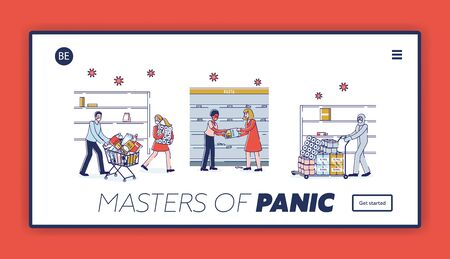 Illustration pour Coronavirus Panic Shopping Concept. Website Landing Page. People Buying Lots Of Food, Fighting Because Of Food Supply Deficit At Supermarket. Web Page Cartoon Linear Outline Flat Vector Illustration - image libre de droit