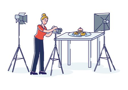 Professional photographer taking photo of food with professional camera and light in studio. Food photographer concept. Artistic occupation and photography. Linear vector illustrationの素材 [FY310150319646]