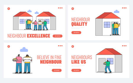 Illustration for Suburb and neighborhood website landing pages set with neighbors welcoming and greeting new people - Royalty Free Image