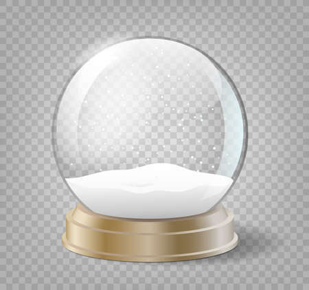 Illustration pour Christmas snow globe on transparent background. Glass sphere with snow for winter holiday events - image libre de droit