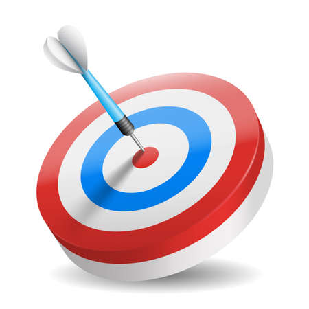 Illustration pour Business and sports concept with 3d dart arrow in bullseye isolated - image libre de droit