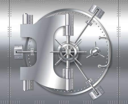 Illustration pour Bank safe vault door, realistic metal steel round gate mechanism to bunker room - image libre de droit